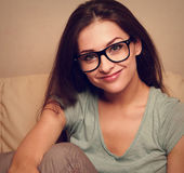 Happy smiling girl in spectacles. Closeup vintage portrait — Stock Photo