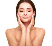 Beautiful spa woman with clean beauty skin touching her face with closed eyes — Stok fotoğraf