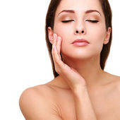 Healthy clean perfect woman face and hand skin. Spa female. Isolated closeup potrait — Stock Photo