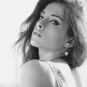 Seductive flirting woman with beautiful makeup. Black and white portrait — Stock Photo