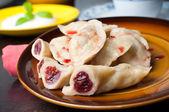 Dumplings with cherries — Stock Photo