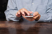 Man using mobile smart phone — Stock Photo