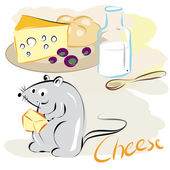 Mouse of cheese — Vector de stock