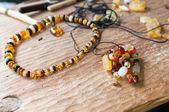Ancient amber necklace — Stock Photo