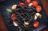 Black tagliolini pasta — Foto Stock