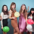Foto Stock: Group of beautiful girls at party