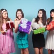 Group of cheerful, happy girl with gifts. — Stock Photo #19639079