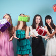 Group of cheerful, happy girl with gifts. — Stock Photo #19639109