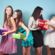 Group of cheerful, happy girl with gifts. — Stock Photo #19639181