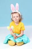 Girl with rabbit ears — Stock Photo
