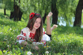 Girl in the national Ukrainian costume — Stock Photo