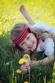 Little girl on nature. — Foto Stock