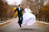 Bouncing newlyweds — Stock Photo
