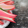 Tulips on wooden backgound — Stock Photo #28071403