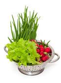 Hortalizas frescas en un colador — Foto de Stock
