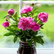 Vase with peony flowers — Stock Photo