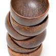 Wooden bowls stack — Stock Photo