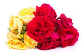 Bouquet of yellow and red roses isolated on white background — Stock Photo