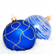 Blue Chritsmas Balls lying on snow — Stockfoto