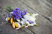Spring flowers on wooden table — Stock Photo