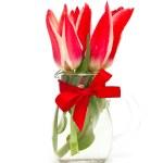 Red tulips in glass vase — Stock Photo #45295321