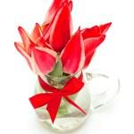 Red tulips in glass vase — Stock Photo #45295331