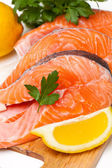 Raw salmon steak — Stock Photo