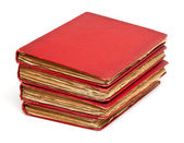 Stack of old books with red covers — Stock Photo