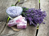 Lavender sea salt and soap — Stock Photo