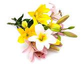 ピンクと黄色のユリ孤立在白色背景上的黄色和红色玫瑰花束 — ストック写真