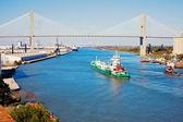 Ship entering port of Savannah — Stock Photo