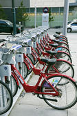 Bikes for rent in downtown of Denver — Stock Photo