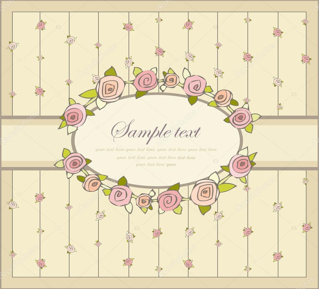 Greeting card with rose. Illustration  roses. Beautiful decorative framework with flowers. — Stock Vector #18719473