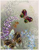 Kelebek ve çiçek tebrik kartı. — Stok Vektör