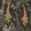 Seamless background. Illustration foxglove and butterflies. — Vetorial Stock #22610321