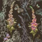 naadloze achtergrond. illustratie vingerhoedskruid en vlinders — Stockvector
