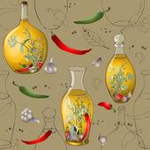 Bezszwowe background.illustration pikantne zioła, przyprawy, oliwek o — Wektor stockowy