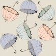 Illustration of vintage umbrella. Seamless background fashionabl - Stock Vector