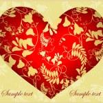 装飾的な心。手描きのバレンタインの日グリーティング カード。illus — ストックベクタ