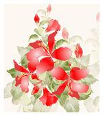 Tarjeta de felicitación con hibisco. hibisco ilustración. — Vector de stock