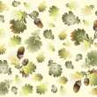 Autumn seamless background. Illustration acorns. — Stockvektor