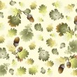 Autumn seamless background. Illustration acorns. — 图库矢量图片