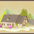 Stock Vector: Illustration little house. Illustration of the farmhouse.