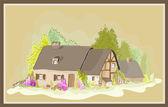 Illustration little house. Illustration of the farmhouse. — Stock Vector
