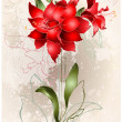 Beautiful greeting card with Amaryllis (Hipperastrum). Floral ba — Vecteur