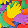 Multicolored hands background — Foto Stock