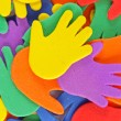 Multicolored hands background — Stock Photo