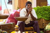 Seller on local market in Sri Lanka - April 2, 2014 — Stock Photo