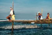 Sri Lankan traditional fisherman on stick in the Indian ocean — Stock Photo