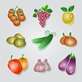 Vegetable stickers — Stock Vector